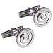 Sterling Silver Ancient Greek Swirl Motif Cufflinks (14mm)