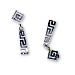 Sterling Silver Triangular Greek Key Dangle Earrings (30mm)