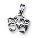 Sterling Silver Comedy and Tragedy Masks Pendant (25x13mm)