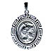 Silver Two-Sided Oval Pendant: Alexander (or Athena) with Parthenon 3cm