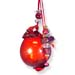 "Glass Pomegranate Good Luck Ornament (Gouri) - 3.5"" red round"
