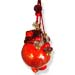 "Glass Pomegranate Good Luck Ornament (Gouri) - 4"" red flat back"
